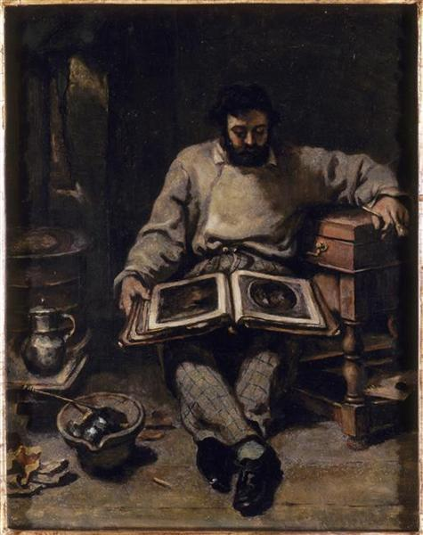 Marc Trapadoux is Examining the Book of Prints, 1848 - Gustave Courbet