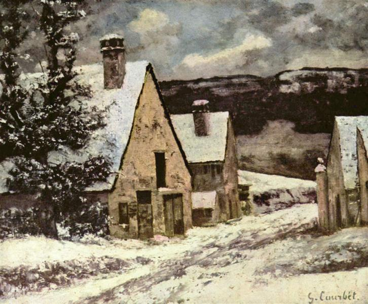 Village Street in Winter, c.1865 - c.1870 - Gustave Courbet
