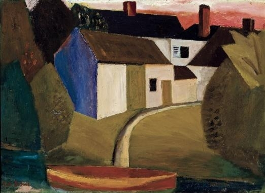 View of a village with a boat, 1923 - Густав де Смет