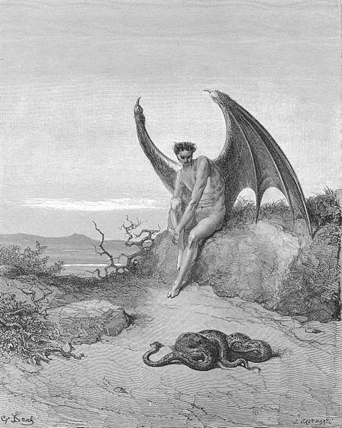 Him, fast sleeping, soon he found In labyrinth of many a round, self-rolled - Gustave Dore