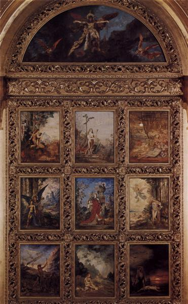 Humanity: The Golden Age depicting three scenes from the lives of Adam and Eve; The Silver Age depicting three scenes from Orpheus: the Iron Age depicting three scenes from the lives of Cain and Abel, 1886 - Gustave Moreau