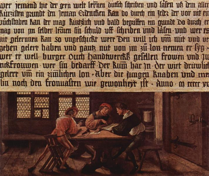 A School Teacher Explaining the Meaning of a Letter to Illiterate Workers, 1516 - Hans Holbein the Younger