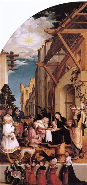 Oberried Altarpiece, left interior wing - The Adoration of the Magi, 1522 - Hans Holbein the Younger