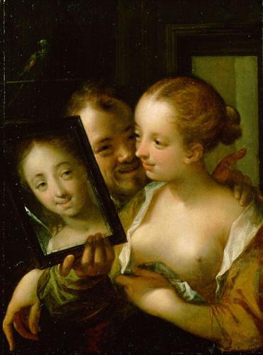 Couple with a mirror, 1596 - Hans von Aachen