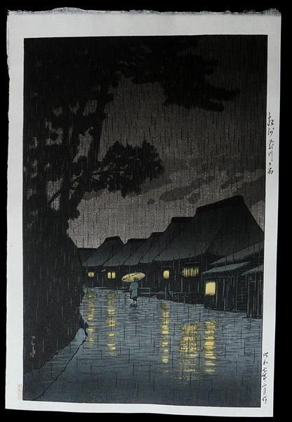 Rainy Night at Maekawa, 1932 - Hasui Kawase