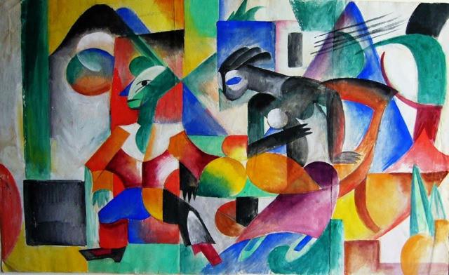 Komposition mit 2 Figuren, 1912 - Heinrich Campendonk