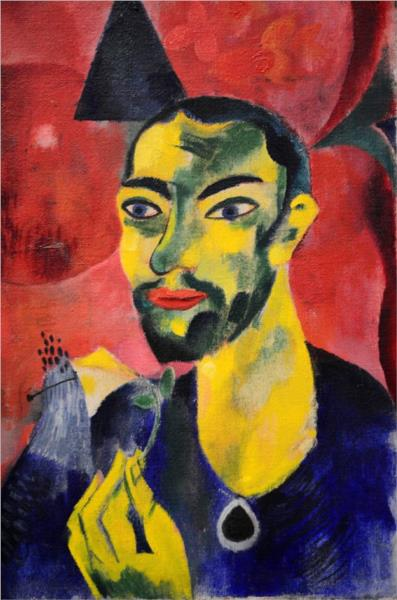 Man With Flower, 1918 - Генрих Кампендонк