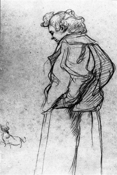 Madame Palmyre with Her Dog, 1897 - Henri de Toulouse-Lautrec