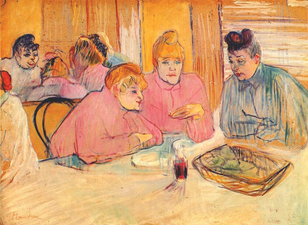 Prostitutes around a dinner table henri de toulouse for Toulouse lautrec works