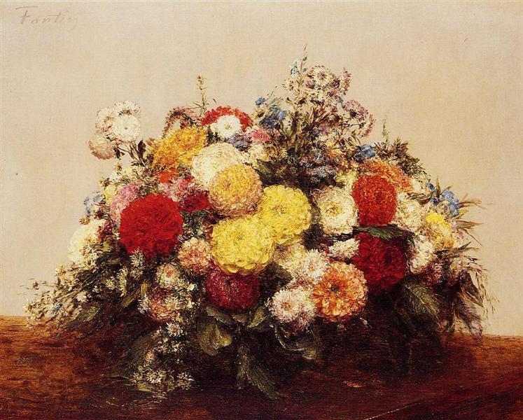Large Vase of Dahlias and Assorted Flowers, 1875 - Henri Fantin-Latour