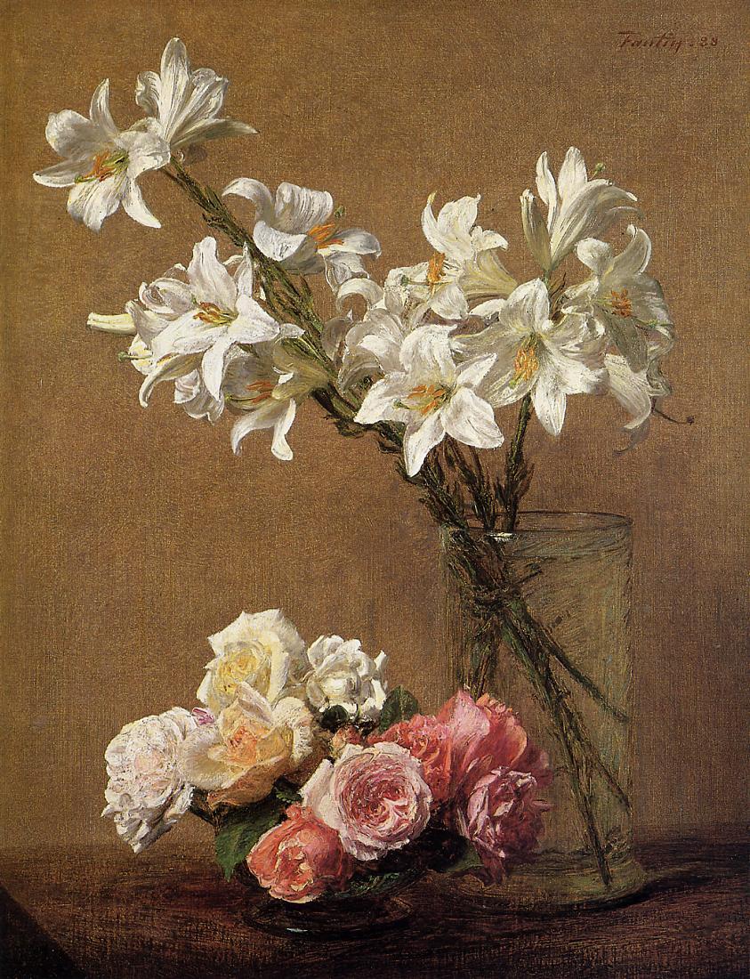 roses and lilies 1888 henri fantin latour. Black Bedroom Furniture Sets. Home Design Ideas