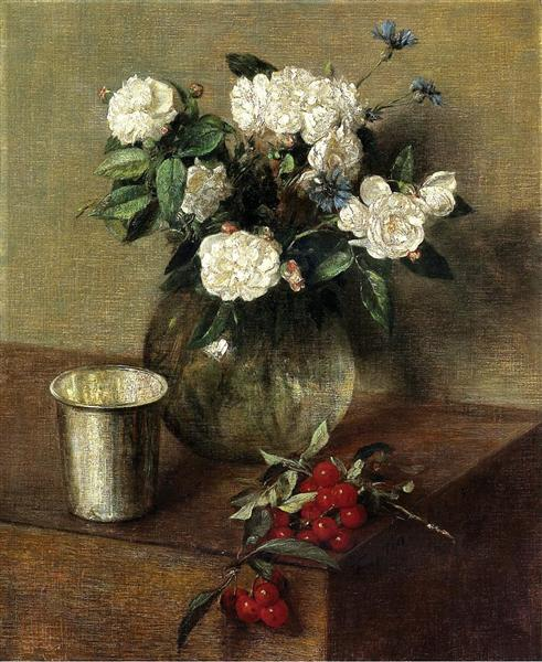 White Roses and Cherries, 1865 - Henri Fantin-Latour
