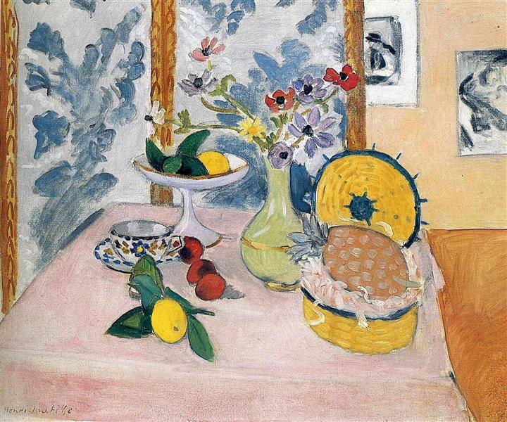 Still LIfe, Pineapples, Fruit Bowl, Fruit, Vase of Anemones, 1925 - Henri Matisse