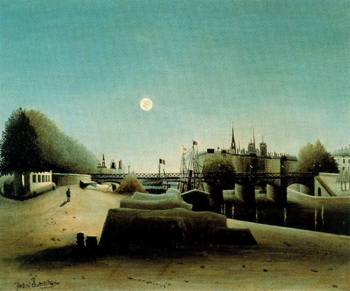 A View of the Ile Saint Louis from Port Saint Nicolas Evening, c.1888 - Анрі Руссо
