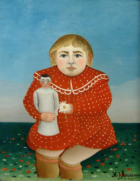 The girl with a doll - Rousseau Henri