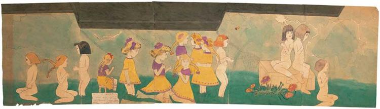 56 At Jennie Richee. Vivian Girls caught in insane fury of crazy... - Henry Darger