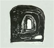 'Gate and Window' - lithography print art, 1996; graphic artist Hilly van Eerten - Hilly van Eerten
