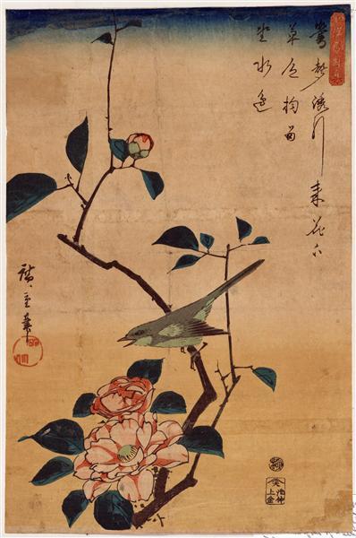 Camellia and Bush Warbler, 1840 - 1844 - Hiroshige