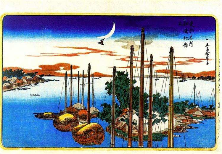 First Cuckoo of the Year at Tsukudajima - Hiroshige