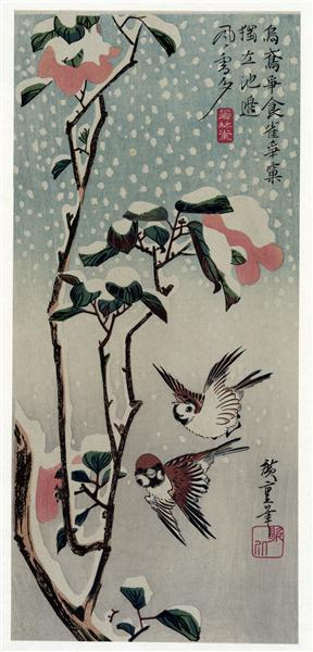 Sparrows and Camellias in the Snow, 1830 - 1838 - Hiroshige