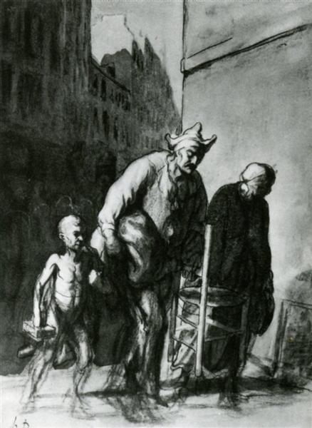 The Displacement of the Travelling Acrobats - Honore Daumier