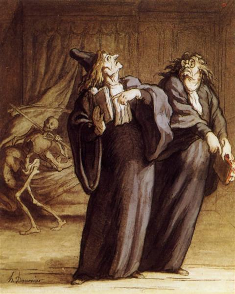The Two Doctors and Death - Honore Daumier