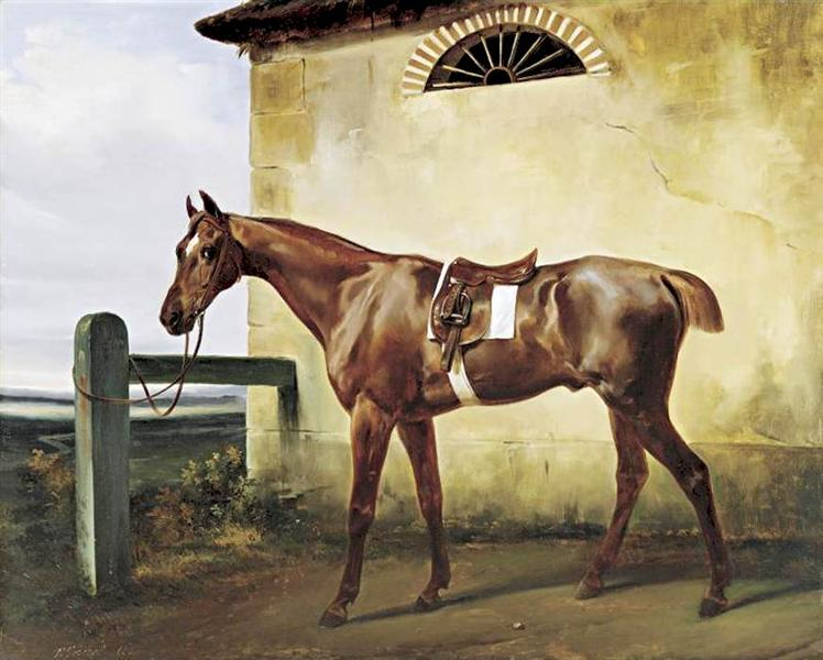 A Saddled Race Horse Tied to a Fence, 1828 - Horace Vernet