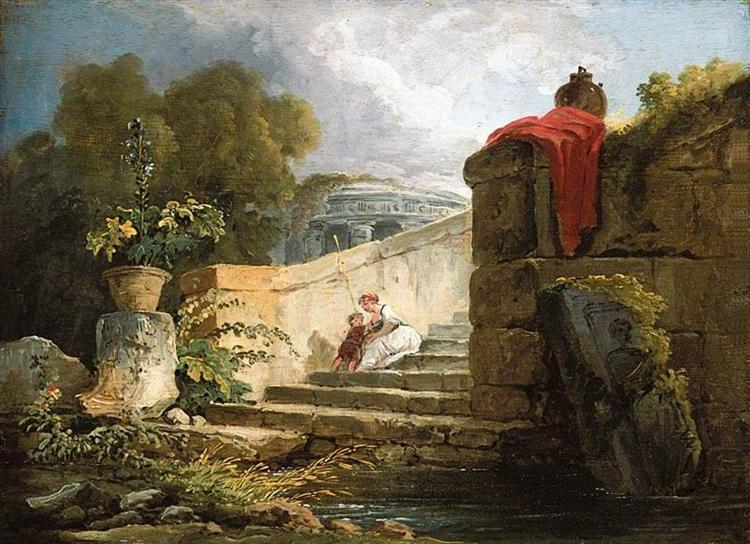 A Scene in the Grounds of the Villa Farnese, Rome - Robert Hubert