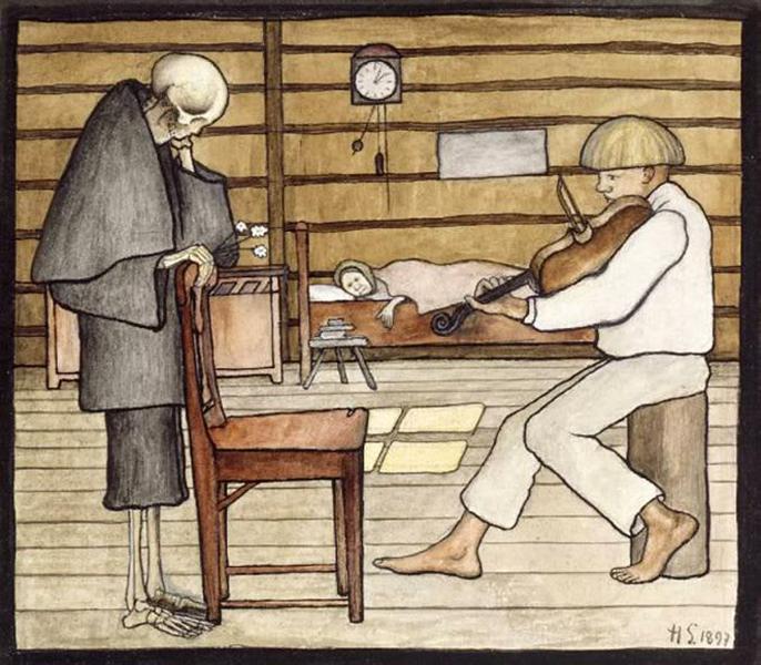 Death Listens, 1897 - Hugo Simberg