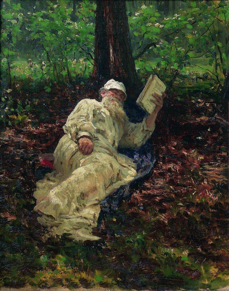 Leo Tolstoy in the forest, 1891