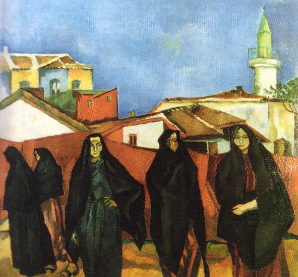 Dobrujan Landscape with Five Turk Women