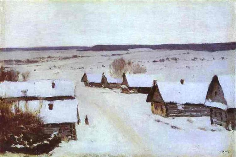 Village in Winter, c.1877 - Isaak Levitán