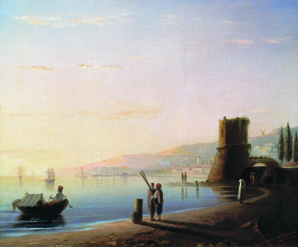 The pier in Feodosia, 1840
