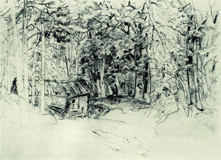 Sketch of the painting in 1898, 1898 - Ivan Chichkine