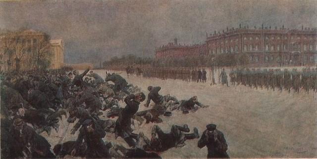 Bloody Sunday. Shooting workers near the Winter Palace January 9, 1905. - Ivan Vladimirov