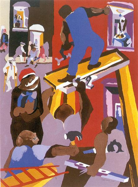 Man on a Scaffold, 1985 - Jacob Lawrence