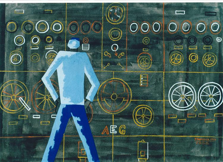 No. 2, Main Control Panel, Nerve Center of Ship, 1944 - Jacob Lawrence