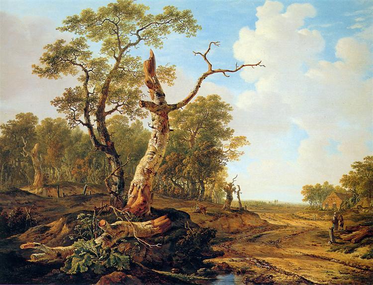 Landscape with dead tree - Jacob van Strij