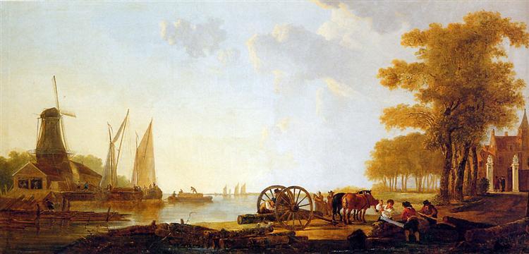 Riverlandscape with mill - Jacob van Strij