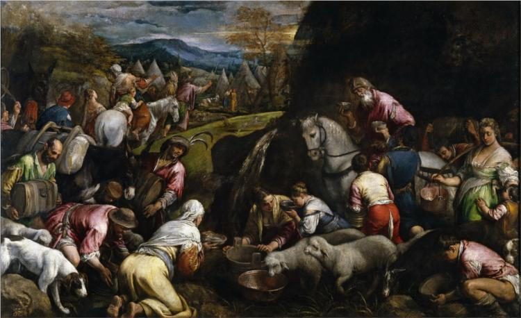 Israelis Drinking the Miraculous Water - Jacopo Bassano