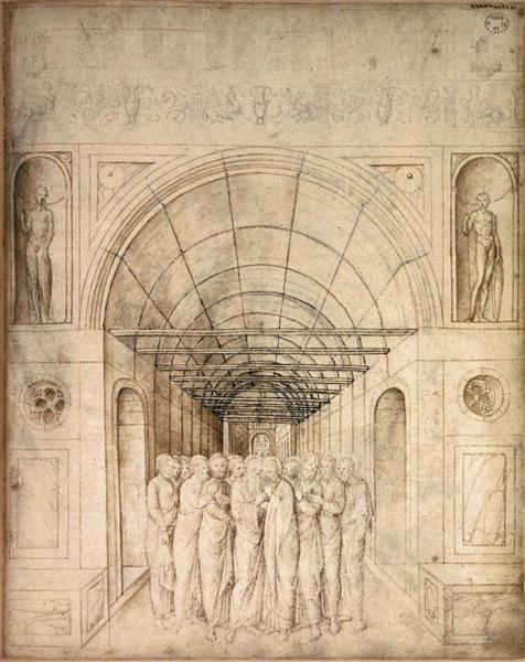 The Twelve Apostles in a Barrel Vaulted Passage, 1440 - 1470 - Jacopo Bellini