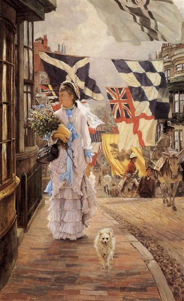 A Fete Day at Brighton (Naval flags of various European nations seen In background), c.1875 - c.1878 - James Tissot