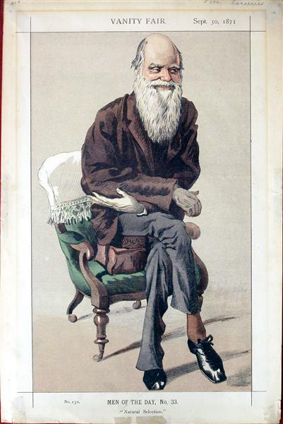Caricature of Charles Darwin from Vanity Fair magazine, 1871 - James Tissot