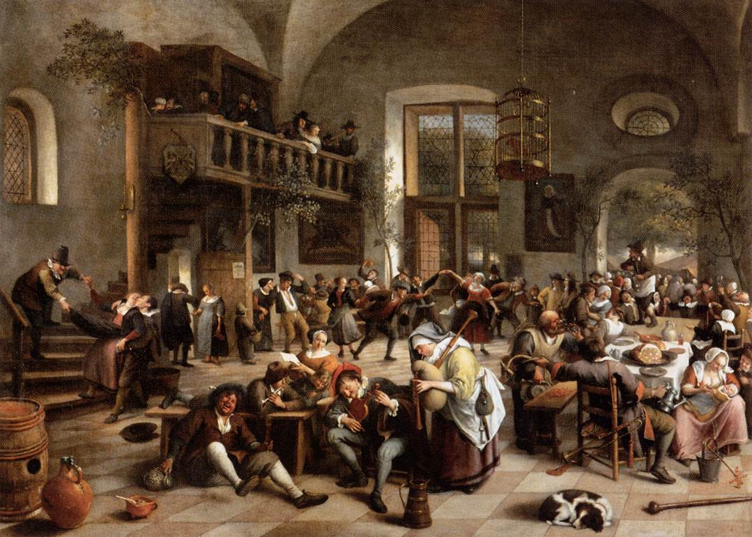 Revelry at an inn 1674 jan steen for 17th century french cuisine