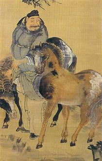 The painting of a man with two horses (detail?) - Owon