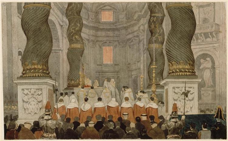 Papal ceremony in St. Peter's in Rome under the canopy of Bernini - Jean Auguste Dominique Ingres