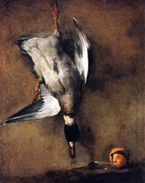 A Green Neck Duck with a Seville Orange - Jean-Baptiste-Simeon Chardin