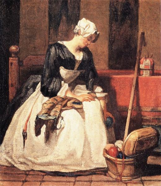 The Embroiderer, 1735 - 1736 - Jean-Baptiste-Simeon Chardin