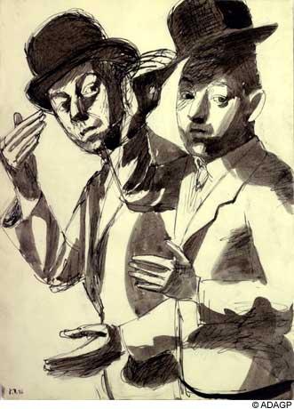 Double self-portrait in a bowler hat, 1936 - Jean Dubuffet