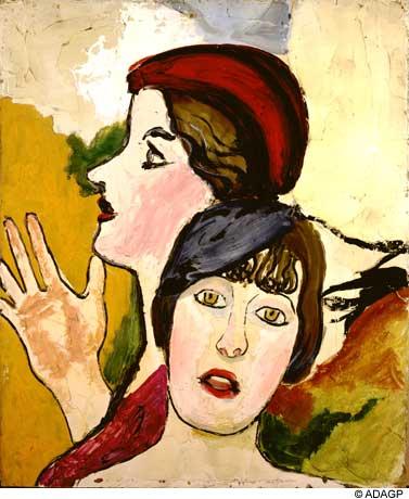 Two female heads in profile, 1934 - Jean Dubuffet